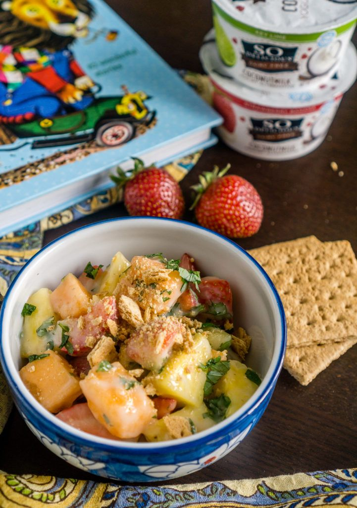 Creamy Fruit Salad with Key Lime Dressing  - Dairy Free, Vegan goodness! #DairyFreeGoodness #ad @Walmart @SoDelicious
