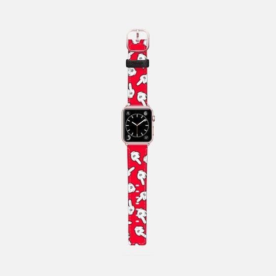 Casetify Apple Watch Band (42mm) Saffiano Leather Watch Band - HATERS GONNA HATE! Pattern in red by Philipp Rietz