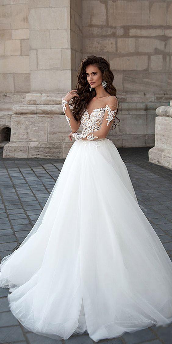 Mila Nova Aline Lace Wedding Dresses / http://www.deerpearlflowers.com/lace-wedding-dresses-and-gowns/3/