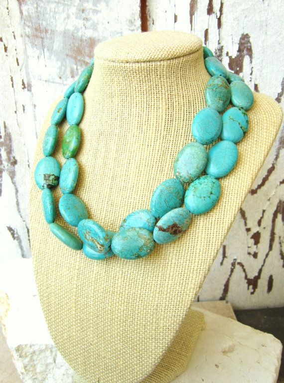 Double Strand Turquoise Necklace.Chunky Turquoise Howlite.Turquoise Statement Necklace.Multi Strand Turquoise Jewelry.Bridesmaid Jewelry