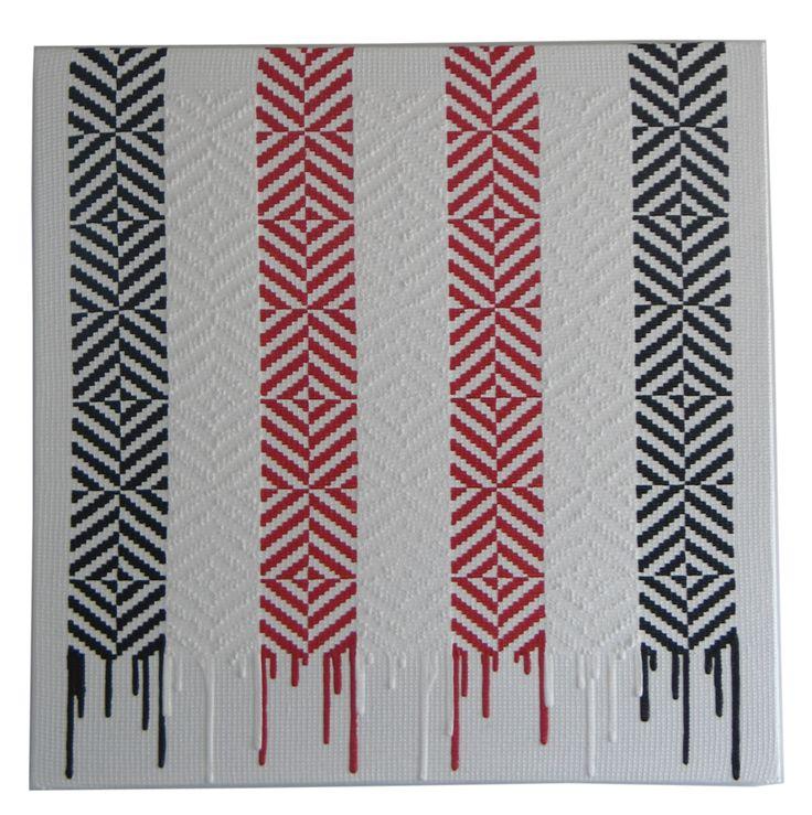 Peata Larkin Loose Ends (Whati 2011)/h4Acrylic on mesh on canvasbr / 756 x 756 mm