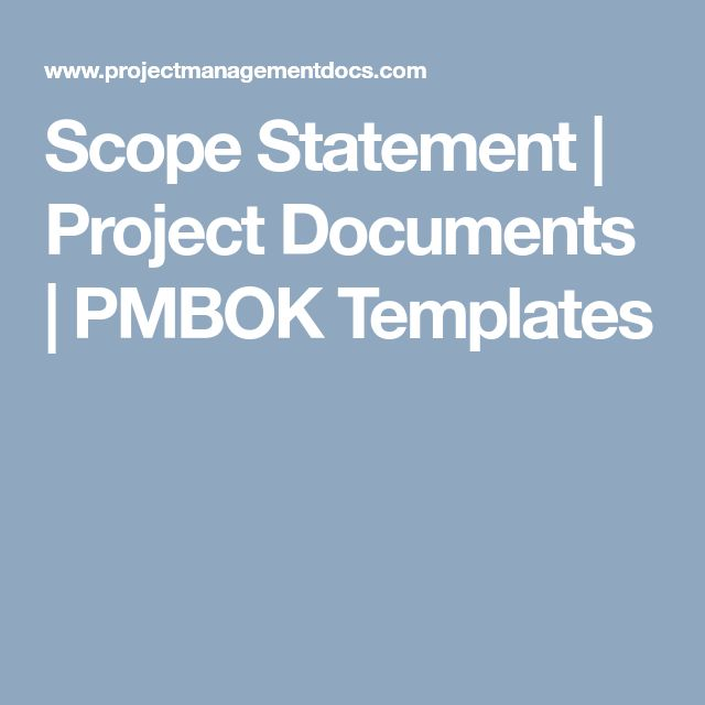Scope Statement | Project Documents | PMBOK Templates