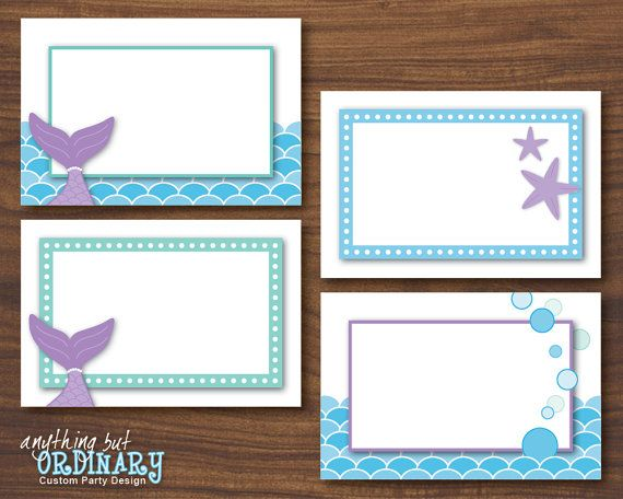 DIY Mermaid Birthday Table Tents, INSTANT DOWNLOAD, digital printable file on Etsy, $4.00