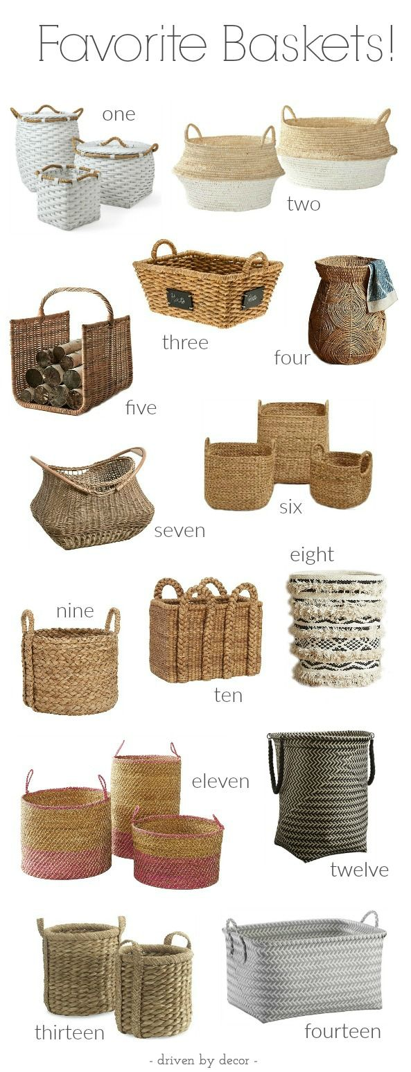 Great round-up of 14 favorite baskets with links and ideas of unique ways to use…