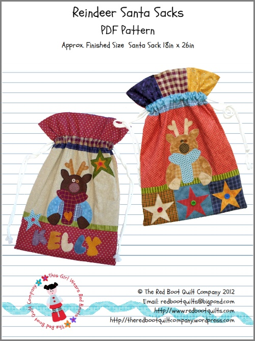 Free pattern for Reindeer and Santa Sacks - size 18 inches by 26 inches