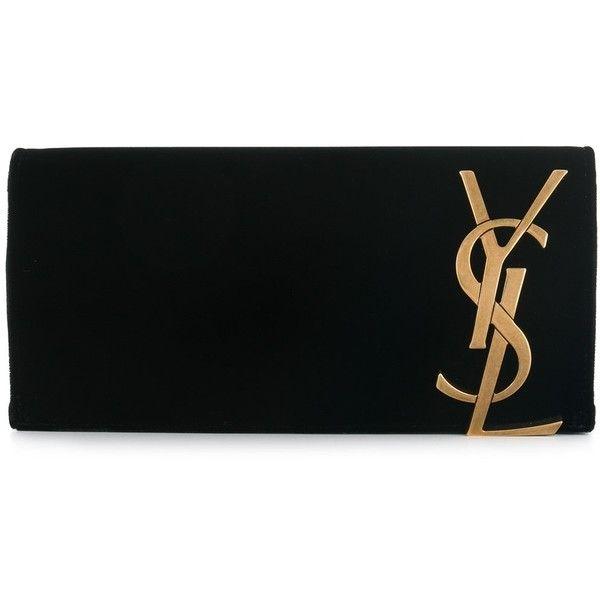 Saint Laurent Velvet Monogram Clutch found on Polyvore featuring bags, handbags, clutches, bags /, kirna zabete, monogrammed handbags, monogram purse, formal purse, formal handbags and formal clutches