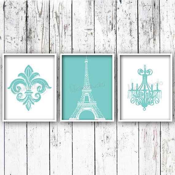 Fleur De Lis Eiffel Tower Chandelier Set of 3 - Wall Decor - Paris Bedroom Decor - Paris Decor - Nursery Art - Bedroom Art - Girls Room