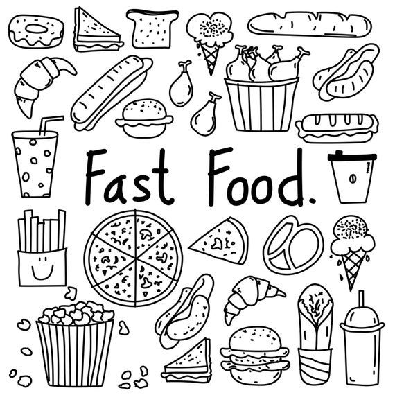 Hand Drawn Doodle Fast Food Clipart Fast Food Clipart Bakery Etsy Notebook Doodles How To Draw Hands Doodle Art Drawing