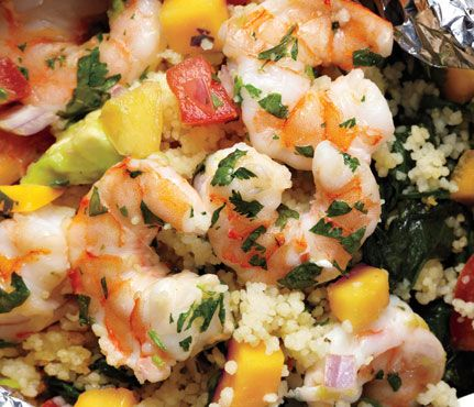 Shrimp with Avocado-Mango Salsa. In addition to being a great source of good-for-you fat, avocados are full of fiber and bloat-busting potassium.