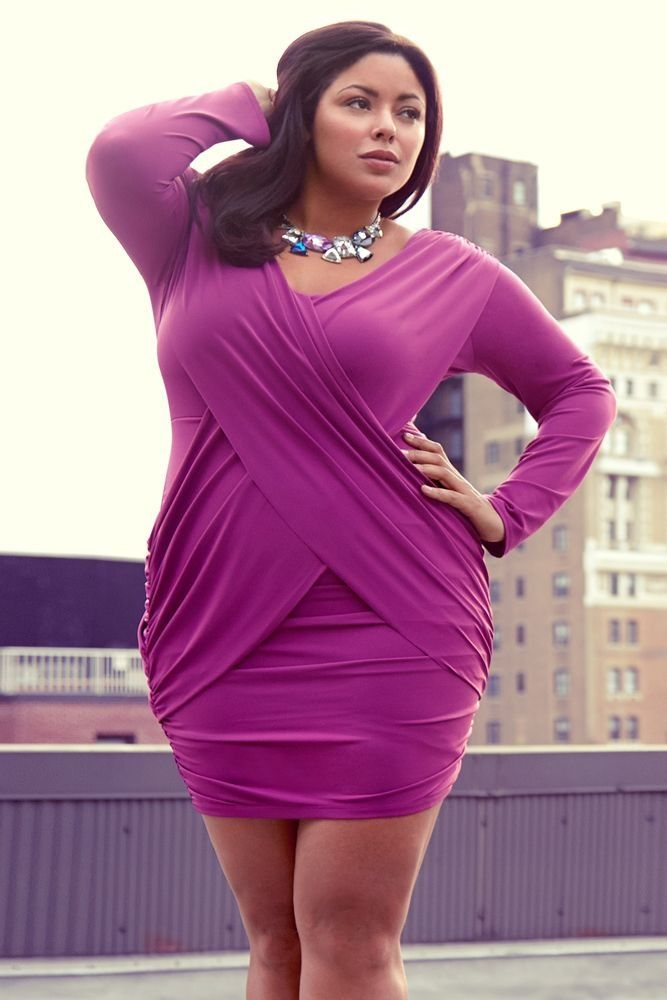 #Plus size fashion Working those #curves in this pretty fuschia #wrap dress!