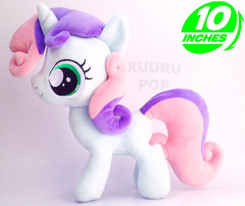 My Little Pony Sweetie Belle Plush  It's the cutest unicorn filly around - Sweetie Belle! Rarity's little sister is just too adorable for words with those big green eyes, little horn and curly mane and tail. These toys are proving very popular so grab one while you can!  - Plush is approx 10 inches / 25.5 cm tall. - Brand new with tags. - Ages 6 & up.