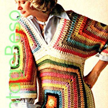 Granny Square CROCHET PATTERN Instant Download Pdf Hippie Boho Granny Square…