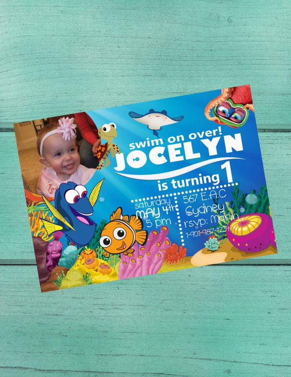 Finding Nemo/Dory Birthday Party Invitation/ Baby Shower/Customized Digital Invitation with/ or w/out Child Photo