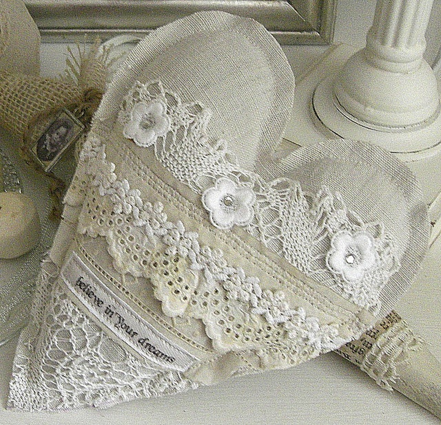 """fabric heart embellished with lace """"believe in your dreams"""" pillow"""