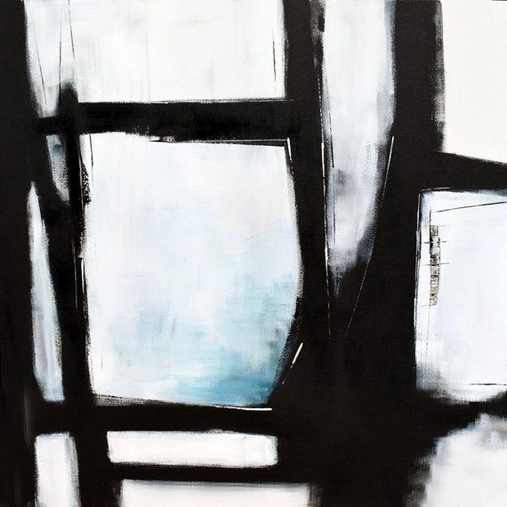 Arte de pared grande abstracto arte pintura en lienzo negro