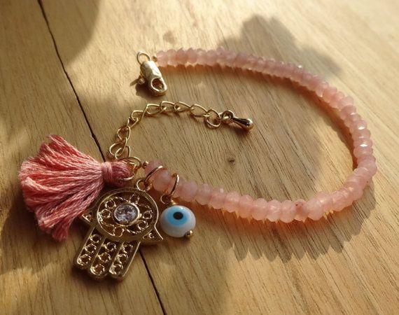 Evil Eye Beaded Hamsa Bracelet - Pink Jade Bracelet - Tassel Bracelet