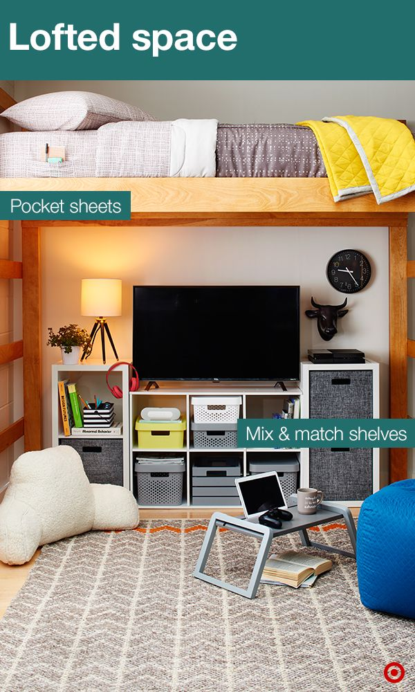 Get the most out of your college dorm room with helpful space savers. Modular shelf units hold storage bins, perfect for stashing snacks, school supplies, etc. And they come in a variety of colors, patterns, sizes and materials. The other must-have: the pocket sheets. They keep your essentials (like your cell phone/alarm clock) near by.