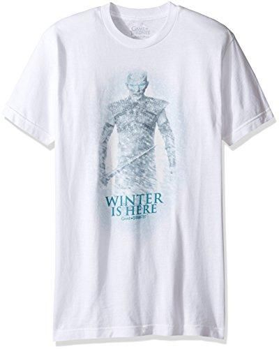 HBO'S Game of Thrones Men's Night King Winter Is Here T-Shirt, White, Large
