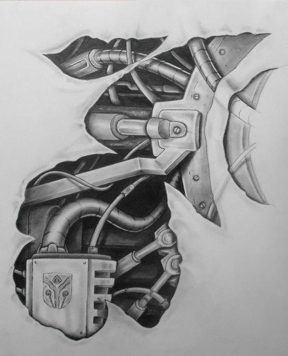 mech tattoo design pt.2 by karlinoboy:
