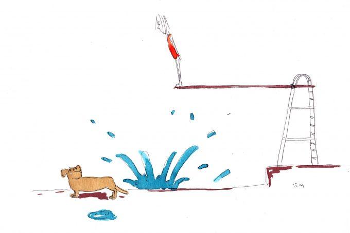 diving board - original artwork by Sandy Mitchell Illustration
