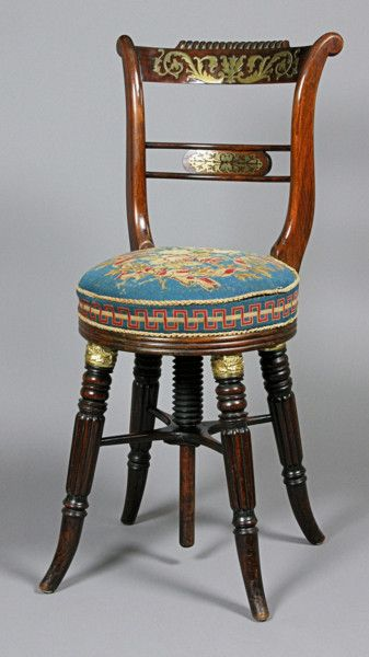Regency rosewood and brass inlaid Music Chair. Circa 1815.
