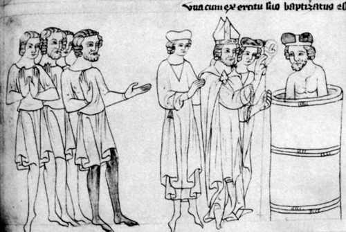 Pokřtění Bořivoje od arcibiskupa Metoděje. Velislavova bible (po roce 1340).