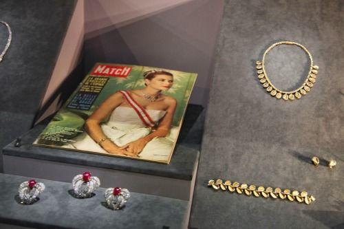 Princess Grace's Collier Grain de Café necklace, earrings, and matching bracelet set by Cartier:  Princess Caroline wore the necklace to the official presentation of Prince Jacques and Princess Gabriella 1/7/15