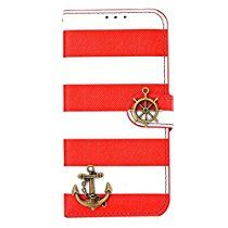 Lowpricenice for iphone 6 Plus 5.5 Inch 1PC Stripes Anchor Rudder Wallet Flip Case