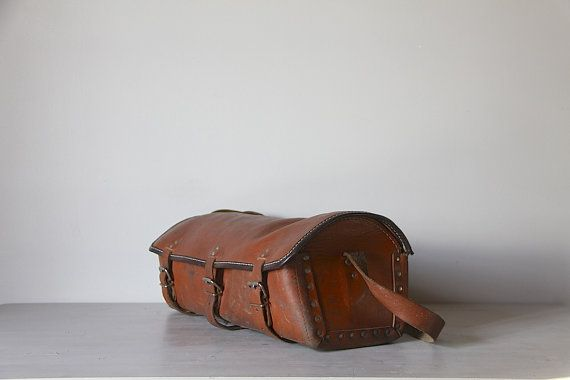 LARGE Vintage Leather Work Bag  French Tool Satchel