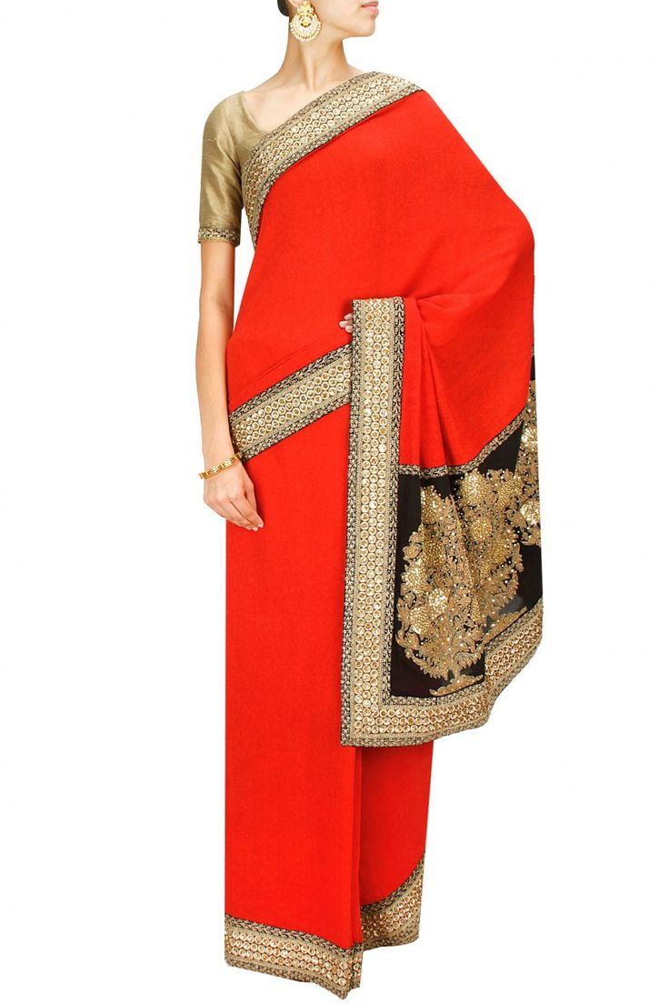 Red Sabyasachi #Saree With Gold #Blouse. Available Only At Pernia's Pop-Up Shop.