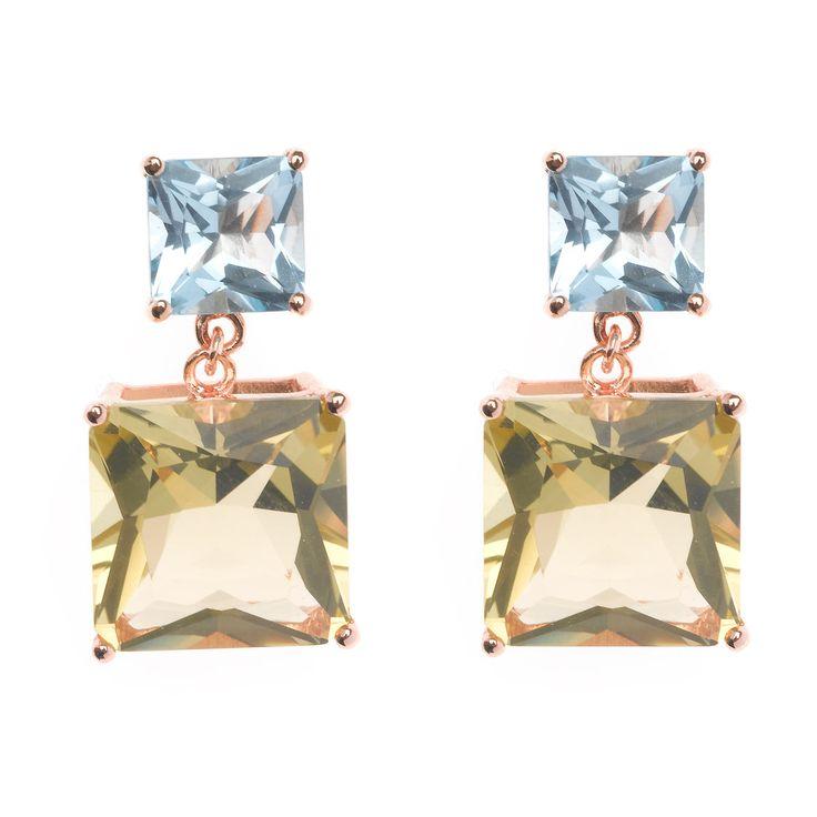 Pendientes en plata de ley con piedra natural amatista verde y topacio bañado en oro rosa. Ver más coleccion en www.salvatore.es