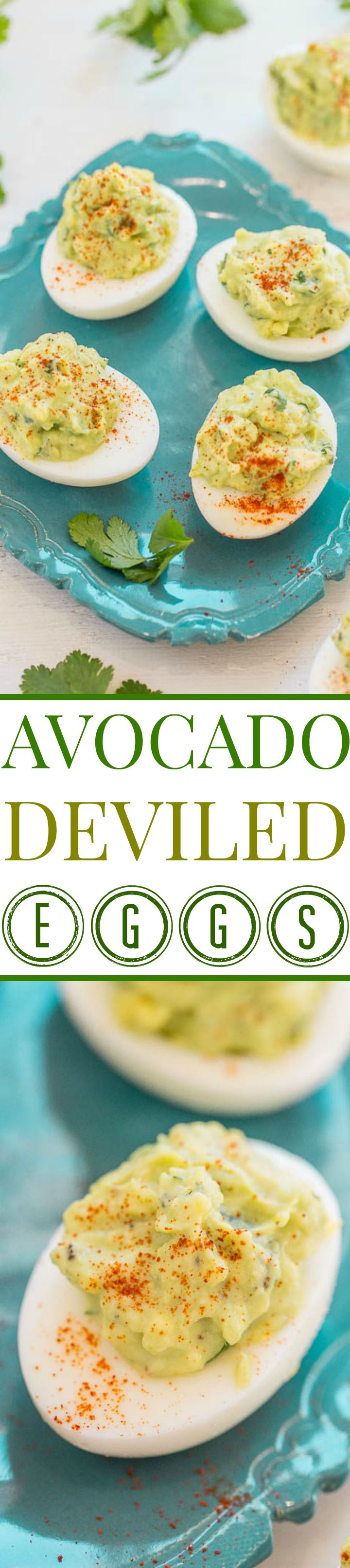 Avocado Deviled Eggs - GUACAMOLE inspired filling jazzes up regular deviled eggs and makes them addictively good!! EASY, tasty, and a perfect little snack or party appetizer!!