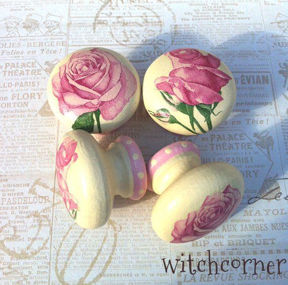 Wooden door knob made with  Pink Roses design  45 by witchcorner, £5.00