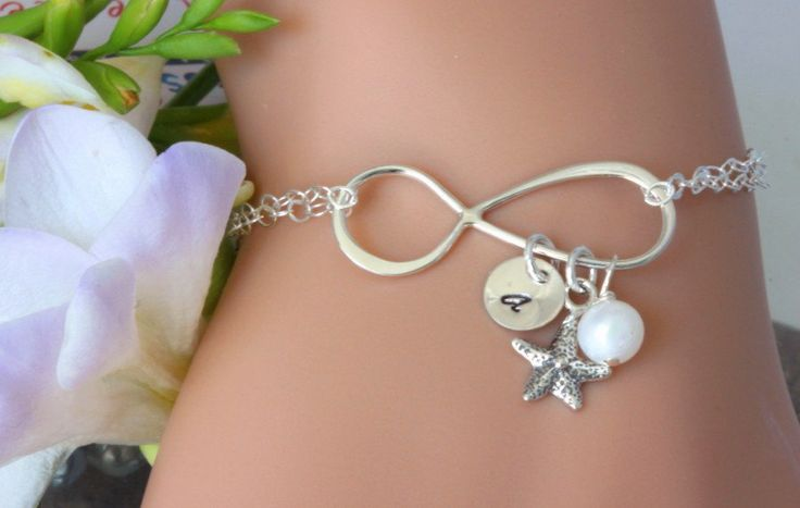 Personalized Infinity Bracelet,Infinity starfish bracelet,Starfish bracelet,Best friend,Bridesmaid Gifts,Friendship,Beach wedding,Graduation by rainbowearring on Etsy https://www.etsy.com/listing/180123389/personalized-infinity-braceletinfinity