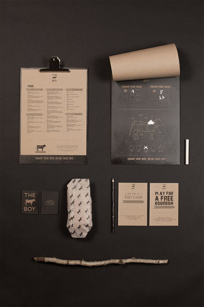 Art Direction – Concept – DesignBranding for steakhouse restaurant, where you can choose your steak on the chalk board menu, and brand your piece of beef with the chalk. This got a educational thought in mind, the guests are learning what they are eatin…