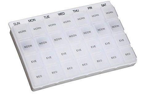 Aidapt Distributeur Multi-Pilule Semaine: Pilulier hebdomadaire avec quatre compartiments pour chaque jour Idéal pour ceux qui prennent…
