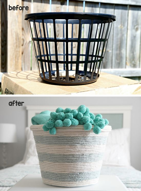 Dollar Store Organizing Ideas • Lot's of simple and inexpensive ideas, and tutorials, including this DIY rope basket storage idea from 'I Heart Organizing'!