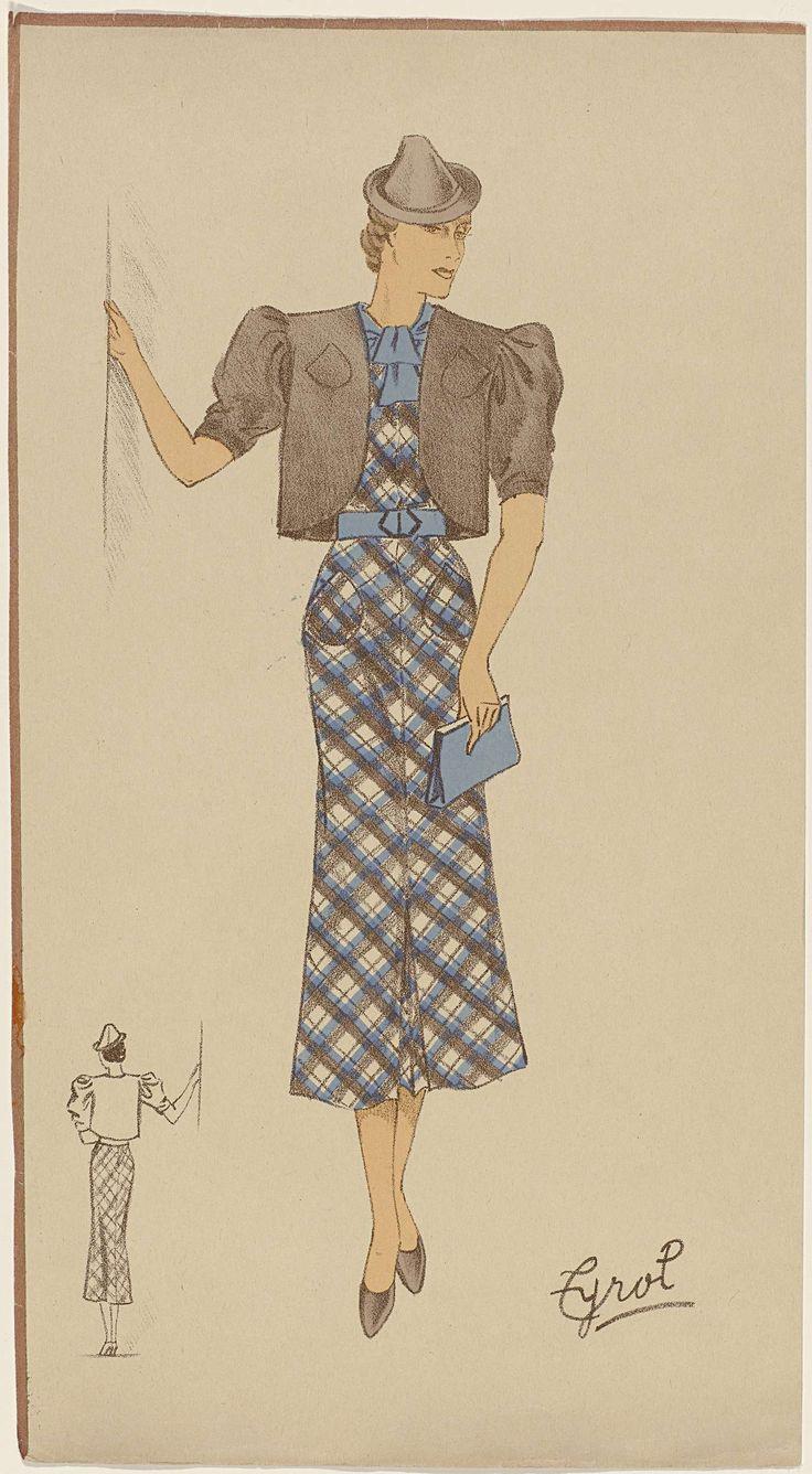 Anonymous | Vrouw in een Schots geruite jurk met bolero, ca. 1930, Anonymous, c. 1930 | Staande vrouw gekleed in een Schots geruite jurk in bruin en blauw met steekzakken en middenvoor een kleine split. Bruine bolero met korte pofmouwen en afgeronde voorpanden. Op het hoofd een kleine hoed met puntige bol. Lichtblauw sjaaltje, ceintuur en handtas (clutch). Bruine schoenen. Linksonder een lijntekening van de achterkant van het ensemble.