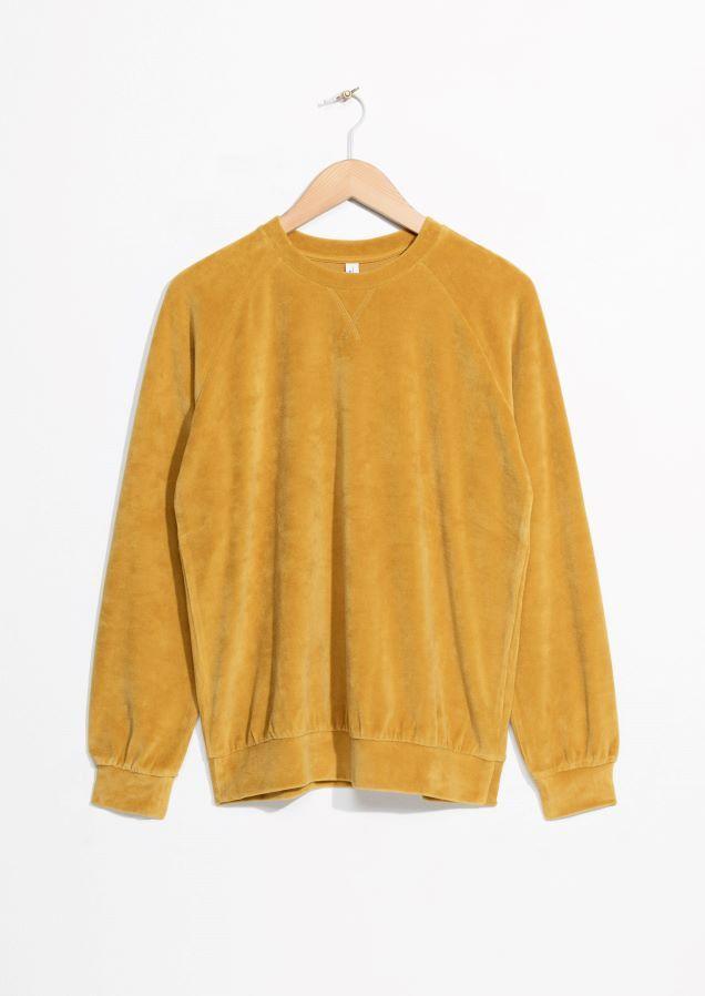& Other Stories image 1 of Velour Sweatshirt in Yellow