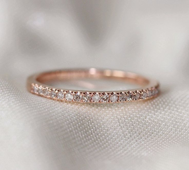 Thin Design 14k Rose Gold Wedding Ring Pave 0.17ct by AdamJewelry, $240.00