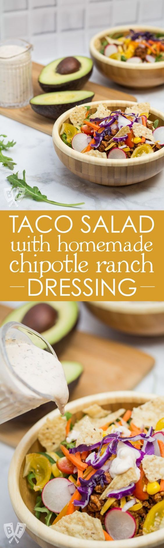 Taco Salad with Homemade Chipotle Ranch Dressing ~ A healthier spin on Taco Tuesday that still packs lots of Mexican flavor! The homemade taco seasoning and chipotle ranch come together in a snap!