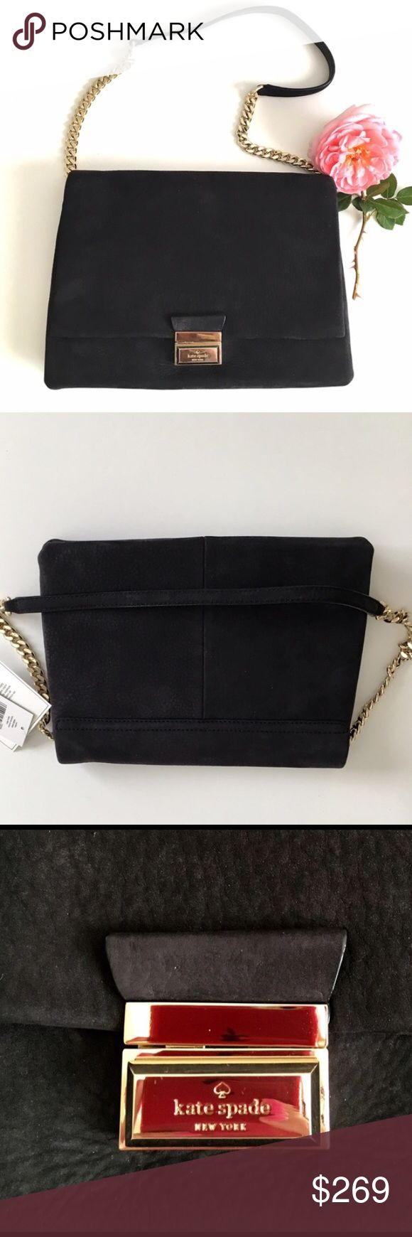 "Kate Spade • Carilee Lafayette Ave • Black Suede Gorgeous, soft suede in a classic, understated style.   •14k gold plated chain and hardware, including nameplate on pushlock closure.  •Two separate inner pockets, one inner zip pocket.  •14"" shoulder drop •Approx meas 7.5 h x 11 w x 3.5 d  ❤️Offers welcome kate spade Bags Shoulder Bags"