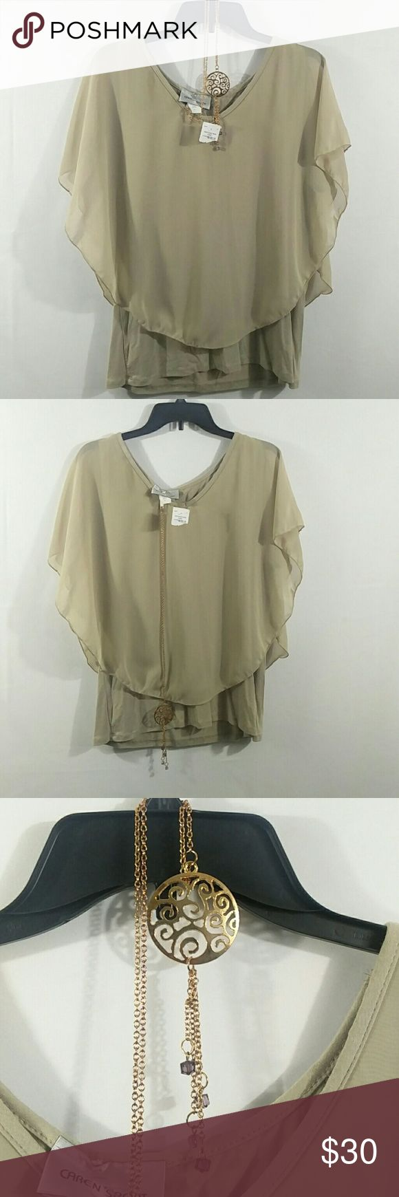 """Caren Sport Plus Size 3X Camel Cape Top USA You are looking at a new with tag women's Caren Sport made in USA Sheer Cape Blouse in Size 3X, comes with the Necklace. 69% Polyester 35%Rayon,5% Spandex. Length~22.5"""" Armpit to armpit~22"""" Please look at pictures and ask questions before buying. Thanks for looking. Caren Sport Tops"""