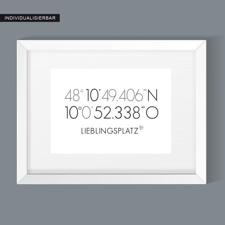 Wandposter LIEBLINGSPLATZ KOORDINATEN, Geschenk Einzug, Hochzeitsgeschenk, Verlobungsgeschenk, Umzug, Schwarz Weiß, Personalisiertes Bild