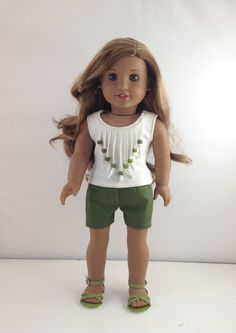 "18T Sweet & Sassy - Top, Shorts and Sandals for 18"" dolls like American Girl Lea, Tenney, Grace, Isabelle, McKenna, Kit, Rebecca and Saige by MjsDollBoutique18T on Etsy"