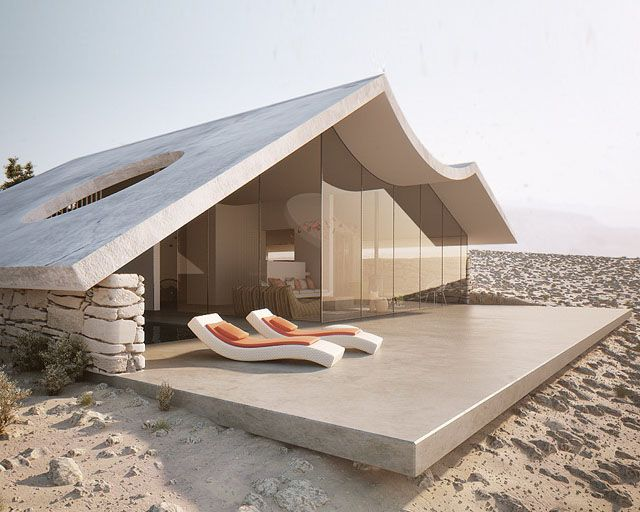Patio on sand with lounge chairs - Desert Villa By Studio Aiko #buildings #homes