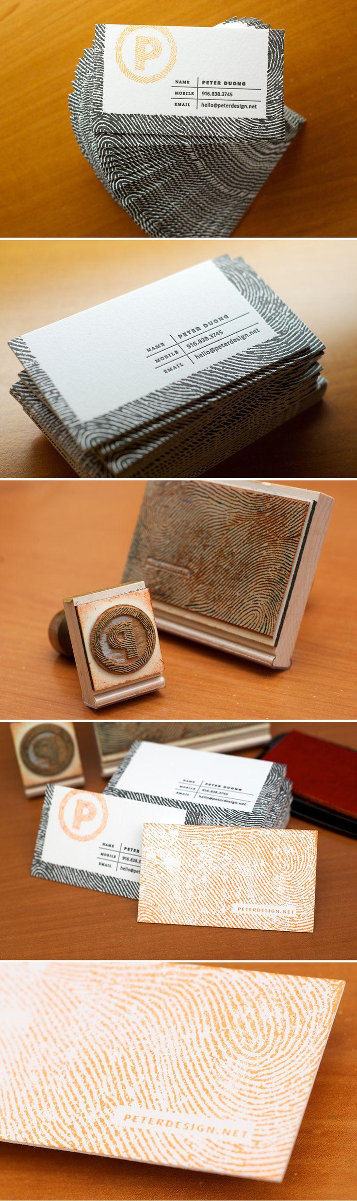 """Tarjeta de presentación con doble sello (porque """"solo los machos"""" usan mas de un sello para sus tarjetas personalizadas, o alguna excusa endeble por el estilo). Diseño de Peter Duong."""