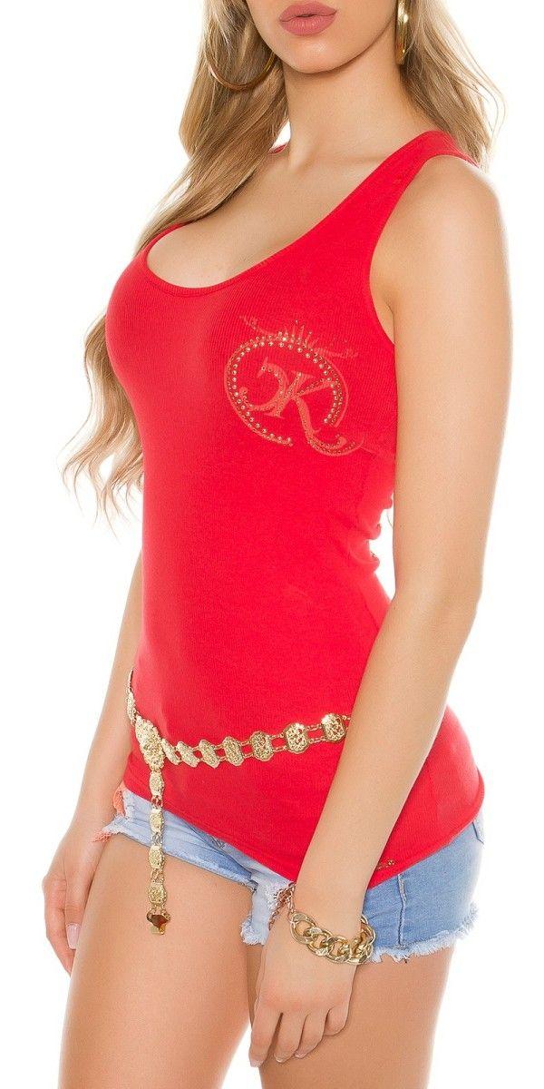 Sexy top s nýty a kamínky, Velikost univ. S/M, Barva červená