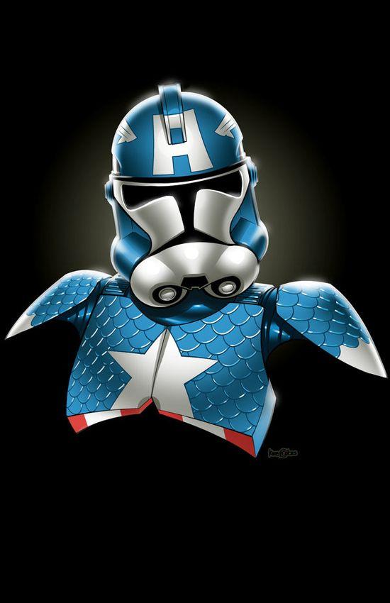 Captain America + Stormtrooper = Awesome !  (Concept/Pencils: Jon Bolerjack  Colors: J.J. Kirby)