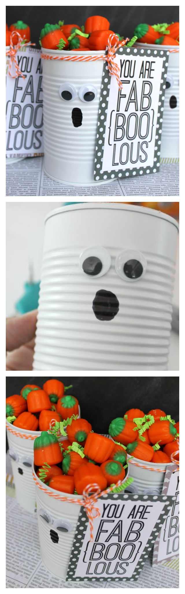 Tin Can Ghost Halloween Gift. Includes the free printable... so cute! (Halloween Crafts For Teachers)